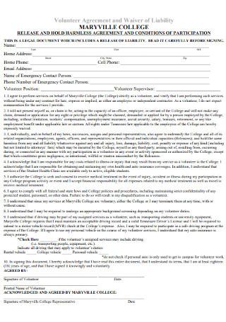 College Volunteer Agreement Template