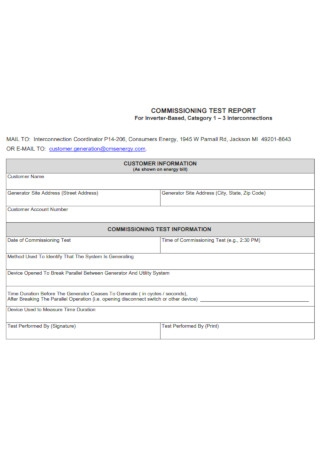 Commissioning Test Report
