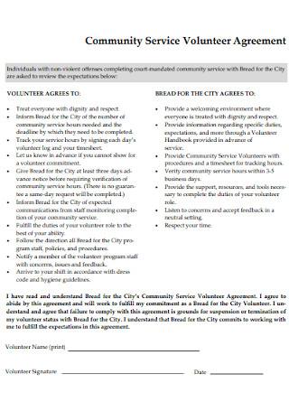 Community Service Volunteer Agreement