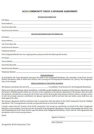 Community Trust Sponcer Agreement
