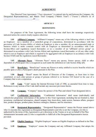 Company Trust Agreement