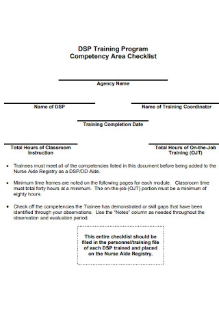 Competency Area Checklist