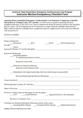 Competency Checklist Form