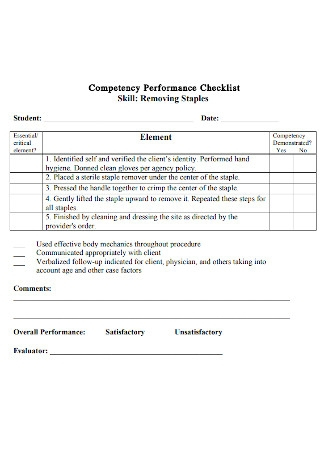 Competency Performance Checklist