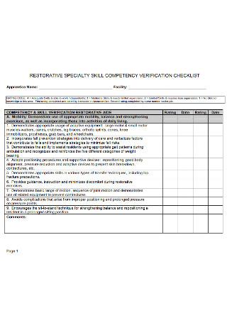 Competency Verification Checklist