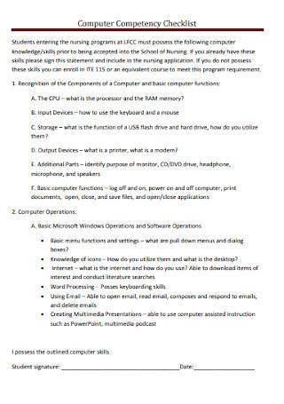 Computer Competency Checklist