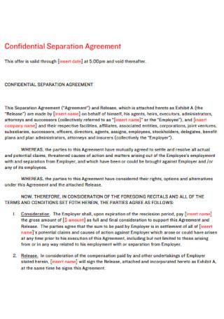 Confidential Separation Agreement
