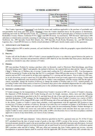 Confidential Vendor Agreement