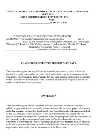 Confidentiality Statement Agreement