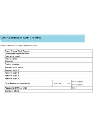 Construction Audit Checklist