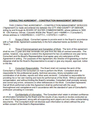 Construction Consulting Agreement Template