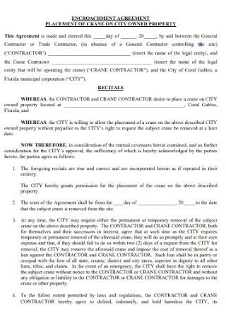 Construction Encroachment Agreement