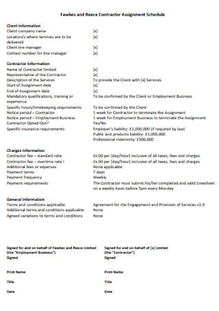 Contractor Assignment Schedule Template