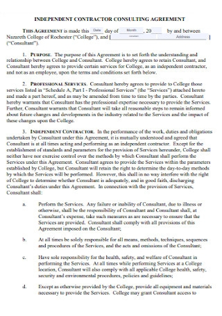 Contractor Consulting Agreement