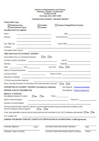 Contractor Incident Report Form