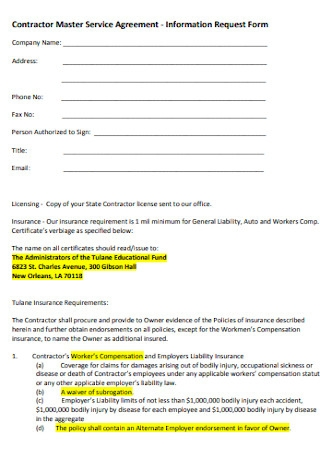 Contractor Master Service Agreement
