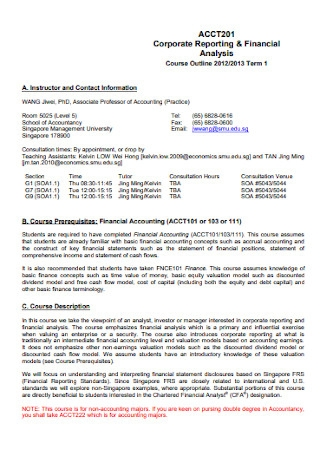 Corporate Financial Reporting Analysis