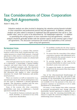 Corporation Buy Sell Agreements
