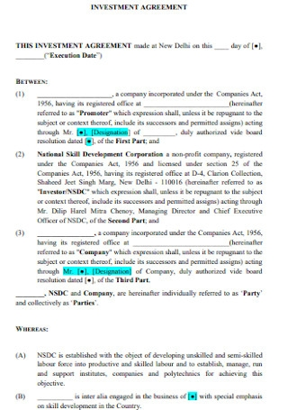 Corporation Investment Agreement
