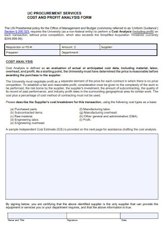 Cost and Profit Analysis Form