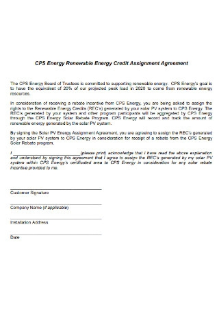 Credit Assignment Agreement