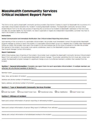 Critical Incident Report Form