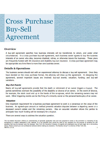 Cross Purchase Buy Sell Agreement