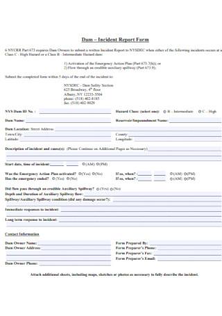 Dam Incident Report Form