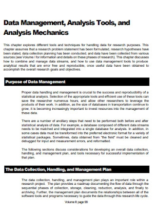 Data Management Analysis Template