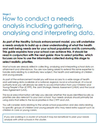 Data Needs Analysis Template