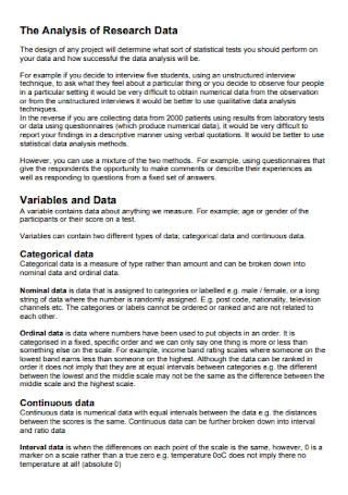 Data Research Analysis Template