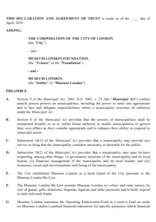 Declaration and Trust Agreement