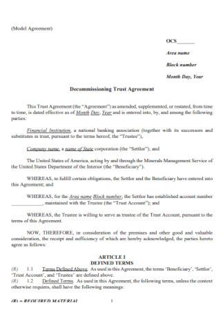 Decommissioning Trust Agreement