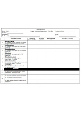 Dental Assistant Competency Checklist