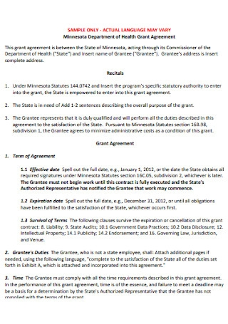 Department of Health Grant Agreement
