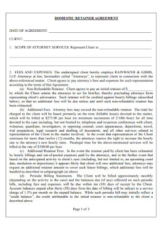Domestic Retainer Agreement