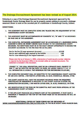 Drainage Encroachment Agreement
