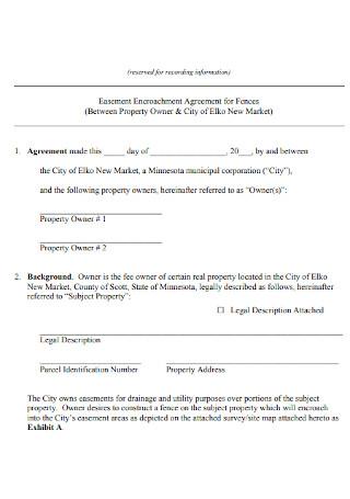 Easement Encroachment Agreement for Fences