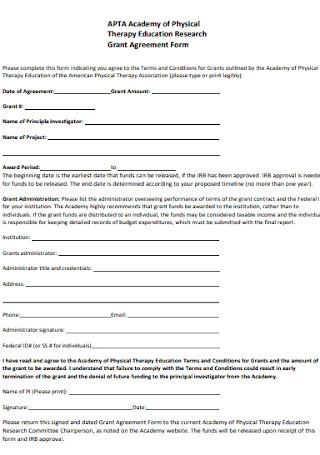 Education Grant Agreement Form