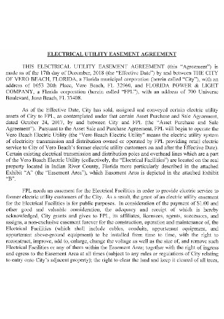 Electrical Utility Easement Agreement