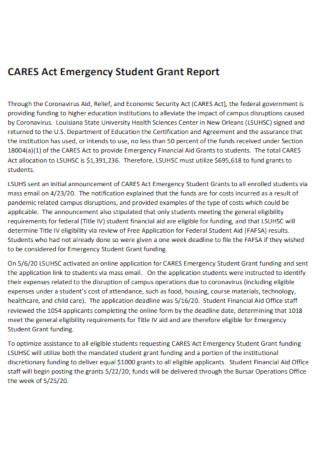 Emergency Student Grant Report