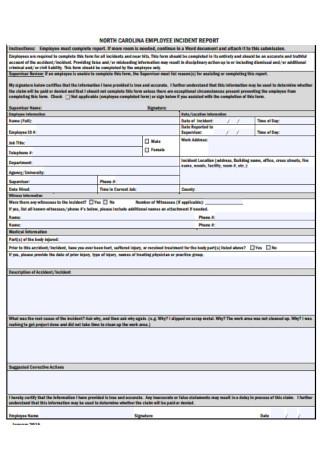 Employee Incident Report Form