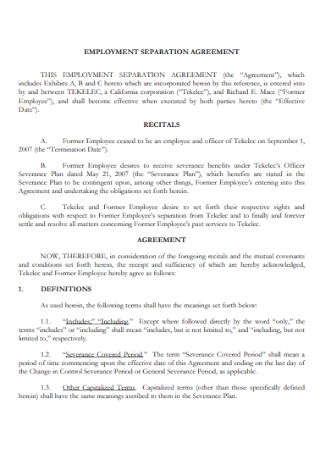 Employment Seperation Agreement