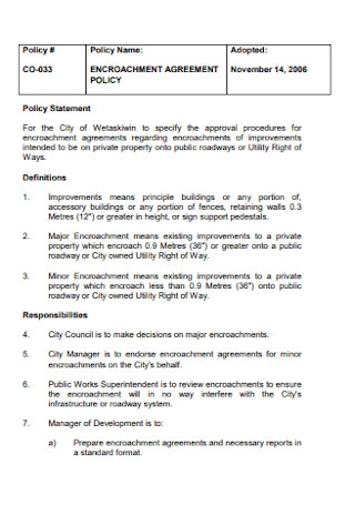 Encroachment Agreement Policy Template