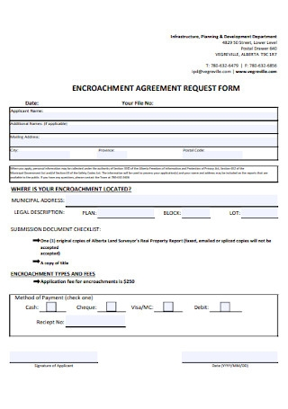 Encroachment Agreement Request Form
