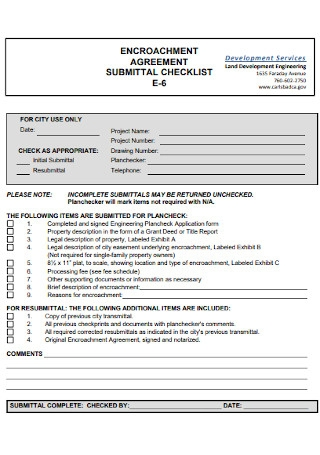Encroachment Agreement Submittal Checklist