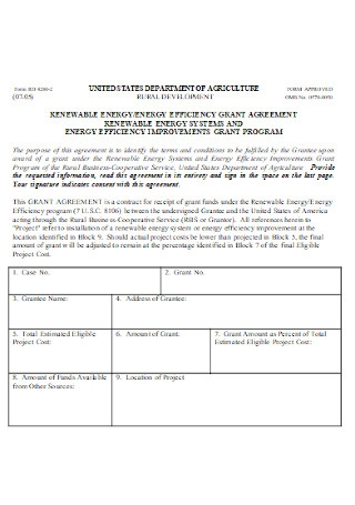 Energy Efficiency Grant Agreement