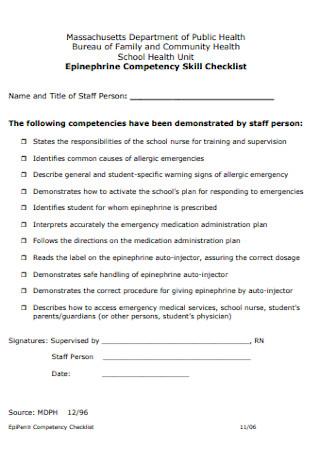 Epinephrine Competency Skill Checklist