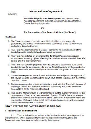 Estates Memorandum of Agreement