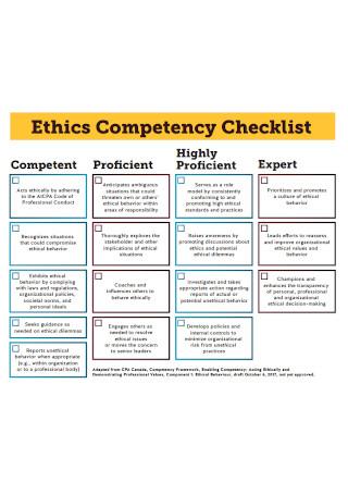 Ethics Competency Checklist